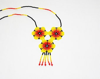 Yellow Peyote Huichol Necklace - Peyote Flower - Peyote Necklace - Native American Jewelry - Huichol Jewelry - Mexican Necklace - Authentic