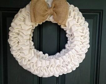 White and Tan Burlap Bubble Wreath