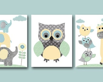 Elephant Giraffe Owl Nursery Decor INSTANT DOWNLOAD Art Digital Art Baby Boy Nursery Art Digital Download Art Set of 3 8x10 11X14 Gray Blue