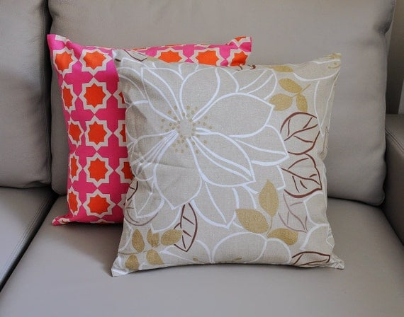 Items similar to Taupe Floral throw pillow covers Cream floral decorative pillows Cream Taupe ...