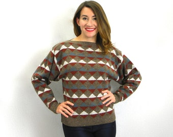 Vintage 60s Rust Brown Sweater | Geometric Triangle Sweater | Garland, USA, Medium