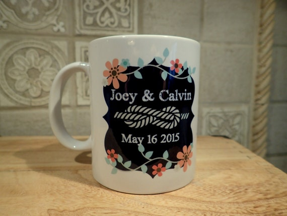 Wedding Mug, Personalized Gift For Bride, Floral Mug, chalkboard Mug