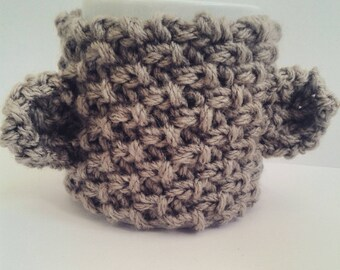 Hand knit chunky bear cup cosy