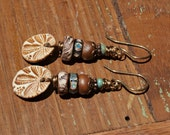 Handmade earrings, Dangle Earrings, Earth tone Colors, Ceramic Beads, Artisan Beads