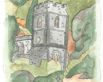 Wonderful original watercolor painting of the Village Church in Stourton, England