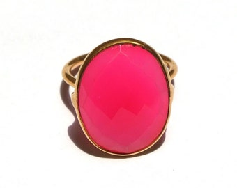 Neon Pink Chalcedony Ring - 18k Gold Vermeil Ring - Sterling Silver Ring - Bezel Set Ring - 16x21mm Oval Cut Gemstone Ring - Gift For Her