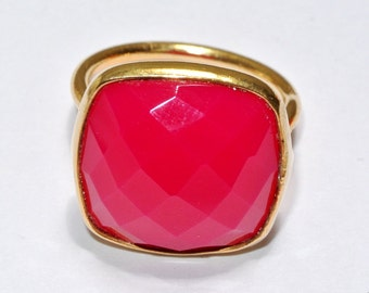 Neon Pink Chalcedony Ring - 18k Gold Vermeil Ring - Sterling Silver Ring - Bezel Set Ring - 16x16mm Cushion Cut Gemstone Ring - Gift For Her