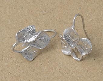 Flower Hook Earring Component, Jewelry Craft Supplies, Matte Rhodium Plated over Brass - 2 Pieces-[BH0008]-MR