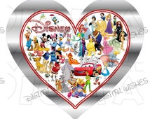 DIY Printable Disney Characters Heart Digital Iron on transfer clip art image INSTANT DOWNLOAD ImageDIY Shirt