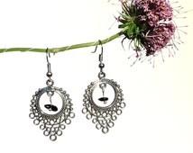 Fashion jewelry, tourmaline silver earrings, circle triangle jewelry, fashion earrings, black tourmaline jewelry circle triangle earring syn