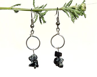Bohemian jewelry, obsidian earrings, snowflake obsidian jewelry, bohemian earrings, whimsical silver earrings, whimsical stone jewelry, ylic