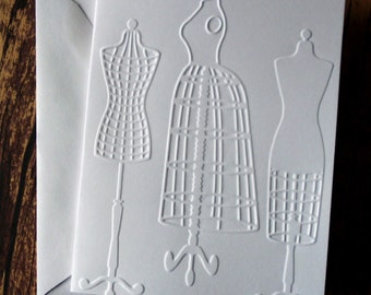 Dress Form Cards, Set of 5, Blank Note Cards, White Embossed Note Card Set, Stationery Set, Greeting Card Set, Gift for Sewers, Seamstress