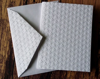 Embossed Star Cards, Set of 5, Small Star Note Cards, Blank Greeting Cards, White Embossed Cards, Military Cards, 4th of July Cards
