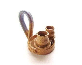 Unique Thrown Ceramic Double Candlestick Holder #A039