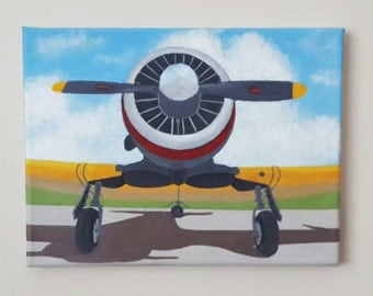 Clouds Airplane Acrylic Painting, Propeller Plane Painting, 7x9,5 Inches Painting, Small Painting, Tiny Canvas Painting, Tiny Art