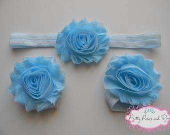 Blue Headband and Barefoot Sandal Set, Light Blue Flower Headband, Light Blue Barefoot Sandals, Baby Sandals, Elastic Headband