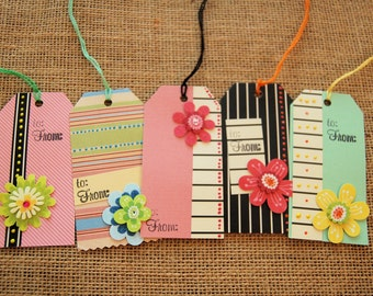 Gift Tags Set of 5- Bright Flowers