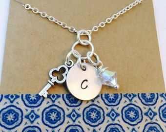 Sale -Key Charm Necklace with Initial and Crystal Best Friend Necklace, Mommy Necklace, Personalized Initial Necklace