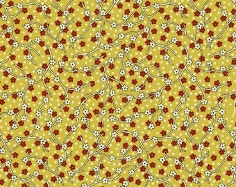 Dear Jane - Yellow and Red Floral Vine Fabric - Fat Quarters Only