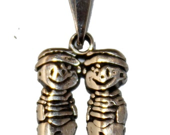 Two Boys Pendant .925 Sterling Silver  Boys Pendant Mexican Taxco Silver