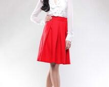 Red skirt , Summer Skirt,  Women Skirt, Ruffles skirt, Woman's clothing, Casual skirt,  Skirt every day