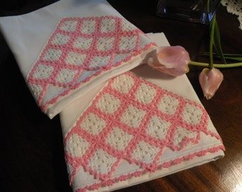 Crisp White and Pink Hand crochet Pillowcase Set, 1930s