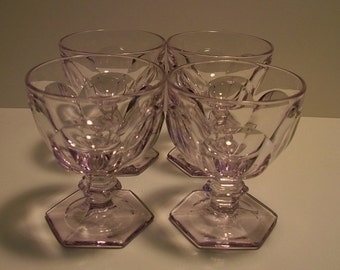 Four HEISEY Champagne/Fruit Cut/Sherbet Glasses - Sun Purple