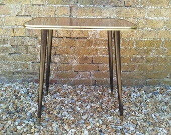 1970s formica coffee table hall table occasional table sputnick legs