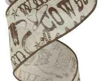 "2.5"" Wired Burlap Wild West Cowboy Ribbon - (10 Yards) - RG1687TM"