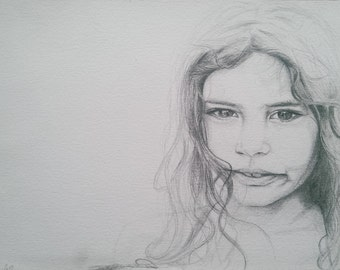 A3 Hand Drawn, Custom Pencil Portrait