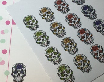 Set of 20 - Sugar Skull Stickers