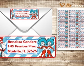 Dr. seuss return Address Labels, Personalized, PDF file