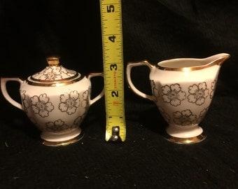 Vintage Kingwood China Gold Trimmed Sugar and Creamer set