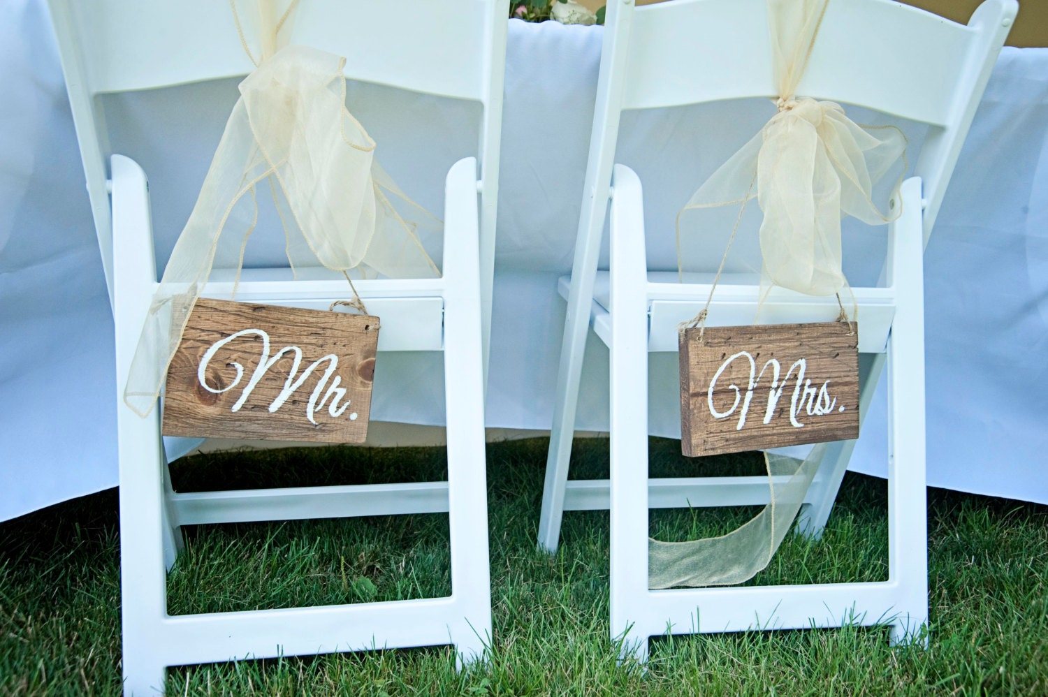 Mr And Mrs Wedding Chair Signs Rustic Wedding By