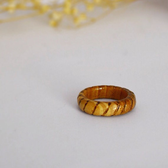 Hand Carved Raw Wood Ring Wooden Ring Size 7 5 Simple Wood