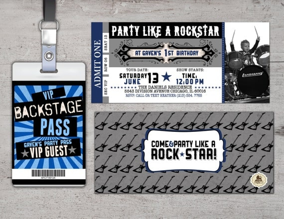 rock star concert ticket birthday party invitation by