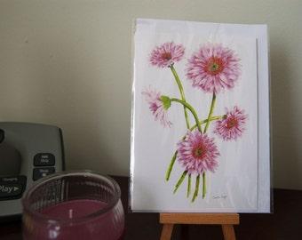 Watercolour print card, A6, Pink Gerbera, fine art