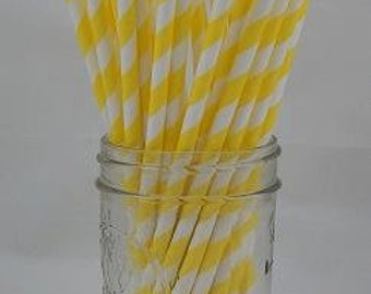 Yellow and White Striped Paper Straws 25, Parties, Favors, Wedings