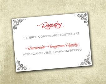 Wedding Registry Enclosure Cards PDF Instant Download