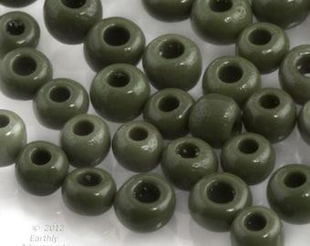 Vintage Venetian Seed Bead Opaque Olive Green 8/0 20 gram bag. b17-221(e)