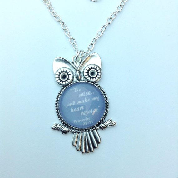 "JW Owl Pendant ""Be wise...and make my heart rejoice"". Grey or Red Glass insert.  Long  32"" chain. Great gift idea! #1"