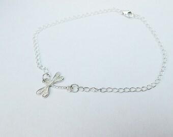 Sterling Silver Dragonfly Anklet, Sterling Silver Dragonfly Ankle Bracelet, Silver Anklet, Silver Ankle Bracelet, Dragonfly Bracelet