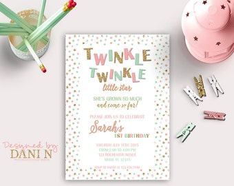 mint and pink twinkle twinkle birthday invitation, gold glitter birthday invite, printable party, twinkle twinkle little star party girl diy