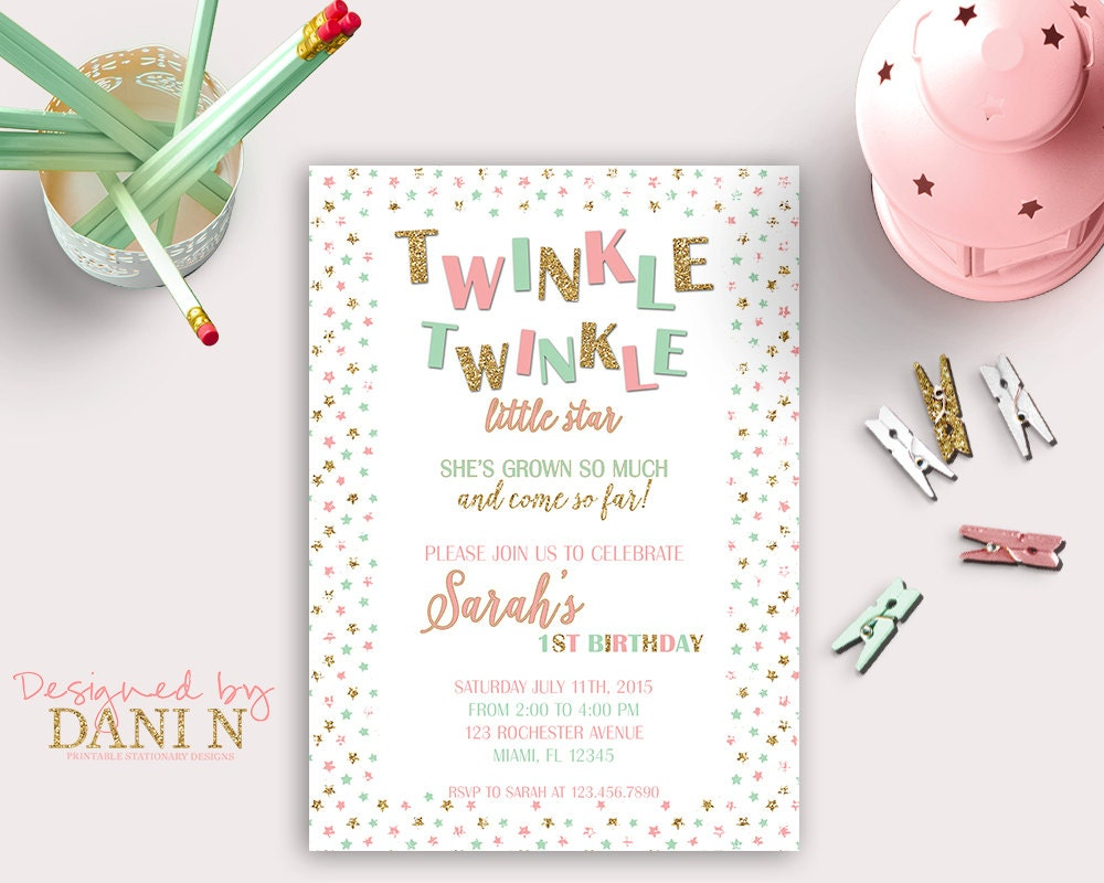 Mint And Pink Twinkle Twinkle Birthday Invitation Gold - Birthday invitation cards tumblr