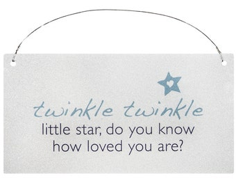 Baby Boys Sign Wall Plaque.  Baby Boy Gift. Twinkle Twinkle Little Star, Do You Know How Loved You Are?