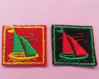2 Pieces Boat Ship Applique Sail Patch Sew On