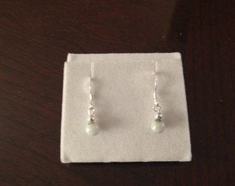 white jade with 925 Sterling Silver Earring
