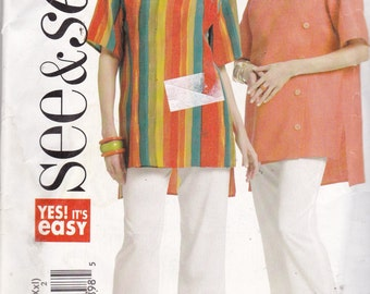 See & Sew 5344 Vintage Pattern Womens Tunic Top and Capri Pants SIze Large, X Large, XX Large UNCUT
