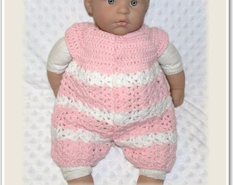 Newborn Baby Crocheted Pink/White Romper Overalls {Button Front} Handmade In Australia