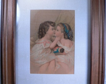 "VICTORIAN CHROMO LITHO: Bufford's Oil Chromo, ""Children Embracing,"" c1870-1890 Chromolithograph Art"